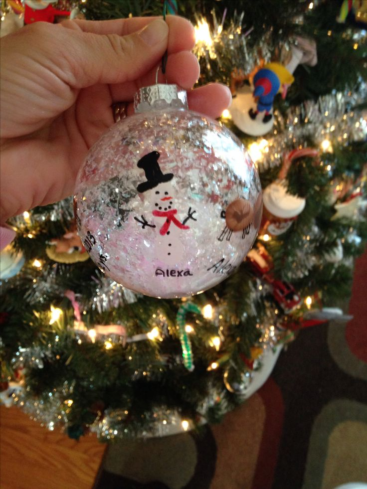 """DIY Christmas Ornament for kids - we used thumb prints to make the reindeer head & body and 3 pointer-finger, finger prints to make the snowman body. Mom or dad can fill in the details. I filled the glad globe w/""""snow"""" I found it w/the ornaments at the craft store."""