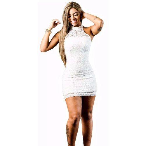 0994b46ed6 Vestido Renda Curto Justo Sexy Decote Panicat Frente Vrp 03 - R  99 ...