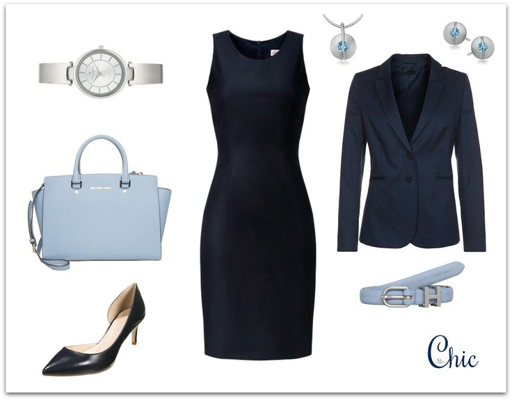 Work/office outfit navy dress. Sukienka Monika Kamińska, żakiet Benetton, czółenka Eden, torebka Michael Kors, pasek Tommy Hilfiger, zegarek Tom Tailor, biżuteria Yes