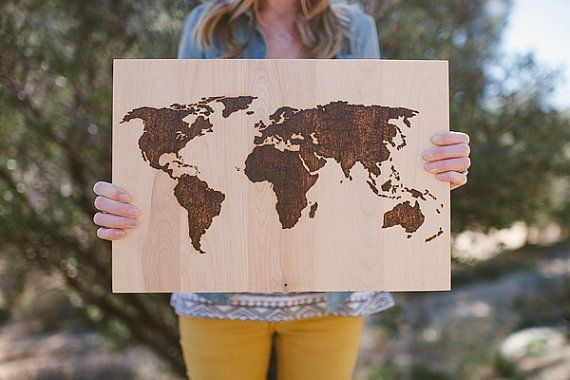 Wood Burned World Map Sign Birch By Kearydee On Etsy