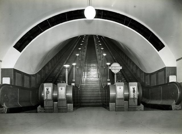 St. John's Wood tube station escalator 13 Nov 1939-1998 © London Transport Museum by The Department for Culture, Media and Sport, via Flickr