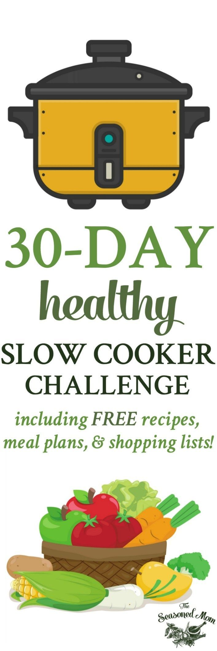 Try this 30-Day Healthy Slow Cooker Challenge to get back on track with healthy dinners in the New Year! Healthy Dinner Recipes | Healthy Crock Pot Recipes | Easy Dinner Ideas #slowcooker #crockpot #healthydinner #healthyrecipes