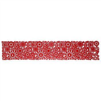 Briscoes - Jason Felt Red Floral Table Runner