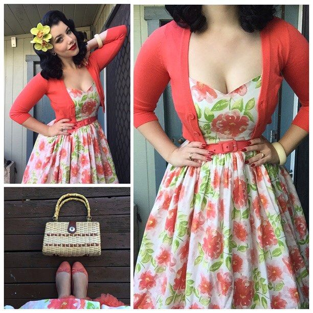 Yesterday's outfit details ❤️ dress by @swonderfulboutique, cardigan and belt from @pinupgirlclothing, bag and bangle are vintage, hair flower from @sophisticatedladyhairflowers and shoes from No.1 Shoe Warehouse