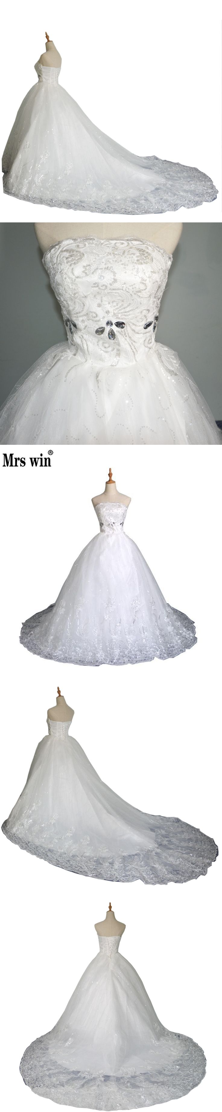 Korean Bride Diamond Bra Lady Tail Wedding 2016 Hot Sale Sweetange Korean Style Sweet Romantic Lace Princess Wedding Dress