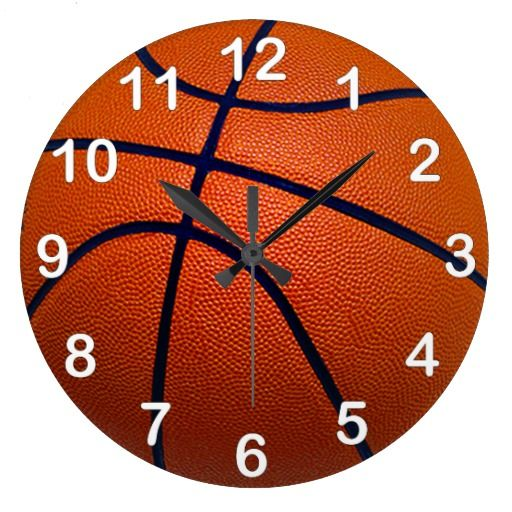 Orange and Black Basketball Wall Clock