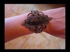 Pulsera macrame con piedra Jaspe de tortuga mexicano