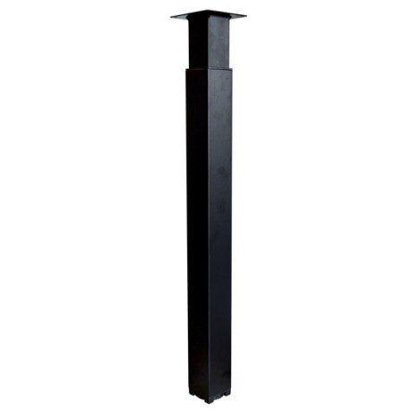 Pied de plan de travail carré réglable en acier époxy noir, 70-110cmx70mm