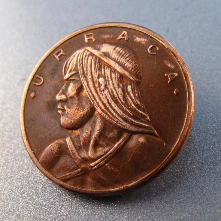PANAMA COIN BROOCH  .panamanian coin pin . 1978 coin . 1 centisimo coin jewelry . vintage coin. republica de panama  No.001065