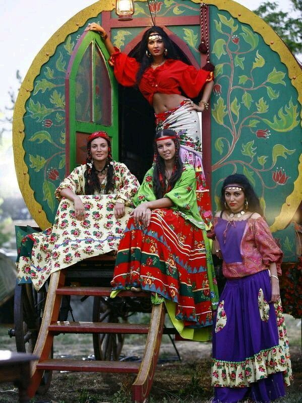 Beautiful Gypsy's and Their wagon!