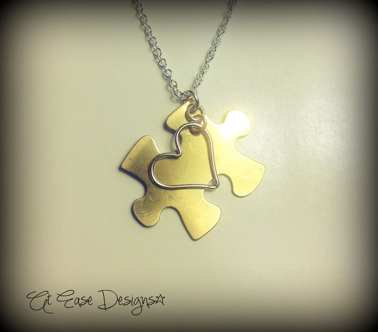 Autism awareness puzzle piece. necklace. autism jewelry. At Ease Designs. $32.00, via Etsy.