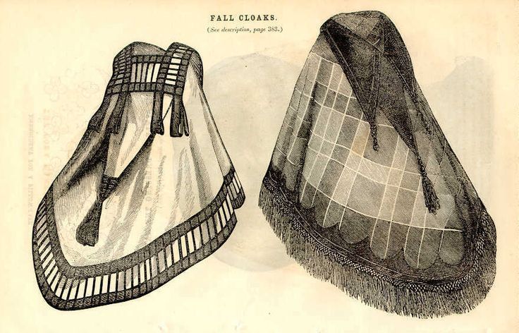 Godey 1859 1. Material, light ladies' cloth, gray or ashes of roses. The square shape at the throat & the peculiar trimming that surrounds it makes the garment very new & stylish. It is burnous shape, with very long pointed hood; trimming is velvet ribbon in bars and loops. #2 is of plaid Algerine cloth, a light warm woollen fabric; the trimming a black velvet hood in three points, a pointed velvet application to correspond surrounding it; the fringe & tassels of mixed chenille and sewing…