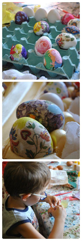 Мастерская мамы: Украшение пасхальных яиц с детьми - простой декупаж на яичном белке