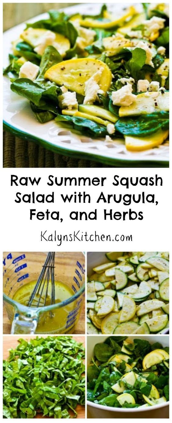 This Raw Summer Squash Salad with Arugula, Feta, and Herbs is a ...