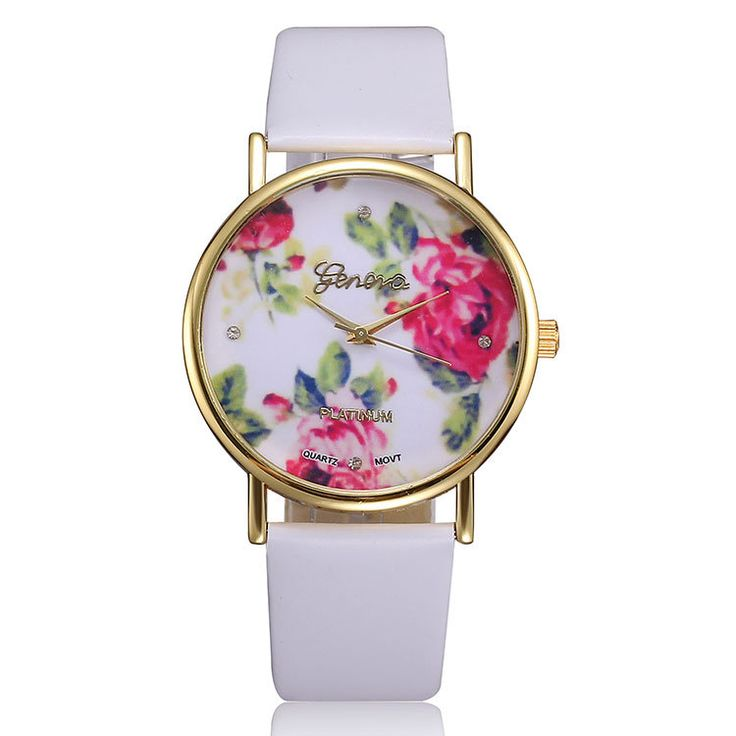 2014 New Fashion Leather GENEVA Rose Flower Watch Women Dress Watch stylish Quartz Watches reloj mujer relogio feminino montre US $5.99