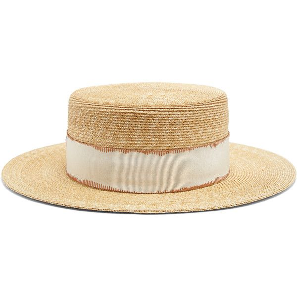 Filù Hats Cordoba wheat-straw hat found on Polyvore featuring accessories, hats, beige, rosebud hats, beige hat, wide brim hat, straw hats and wide brim straw hat