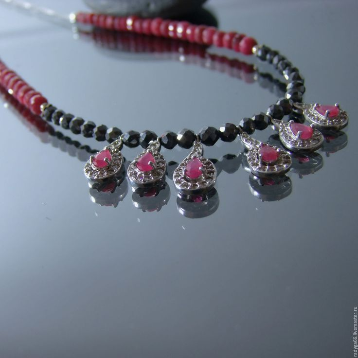Купить Вечернее колье. Черный бриллиант. Рубин..Серебро925пр. - разноцветный, бриллианты, рубин натуральный, серебряный