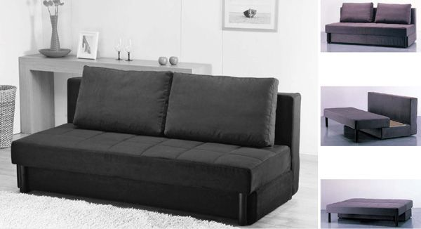 Amazing Modern Minimalist Black Color Cheap Sofa Beds Design Made from Fabric Material Decorated in Bright Living Room Interior