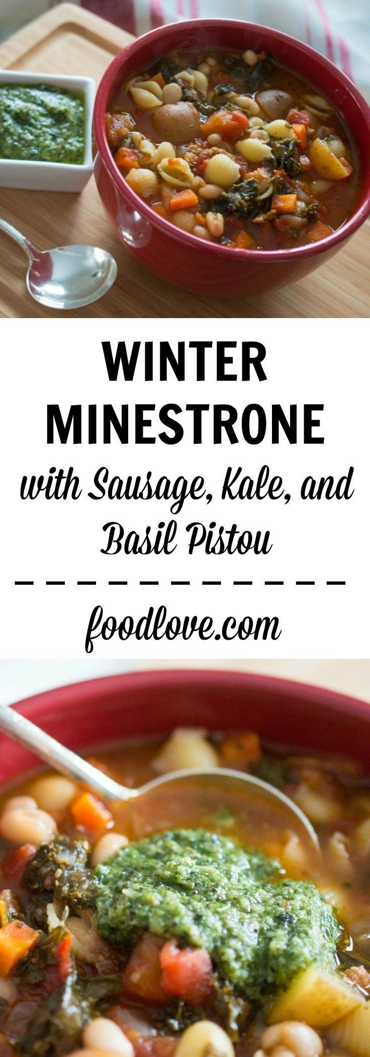 Winter minestrone with sausage, kale, and basil pistou is one of our ...