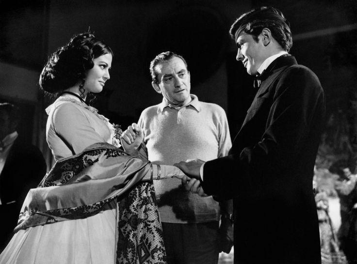 Claudia Cardinale, Alain Delon & Luchino Visconti on the set of The Leopard (Il Gattopardo)