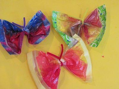 Butterfly sensory bags for preschoolers from Teach Preschool