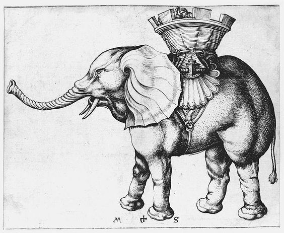 Martin Schongauer Elefant.Martin Schongauer:Bakır üstüne fil işlemesi: