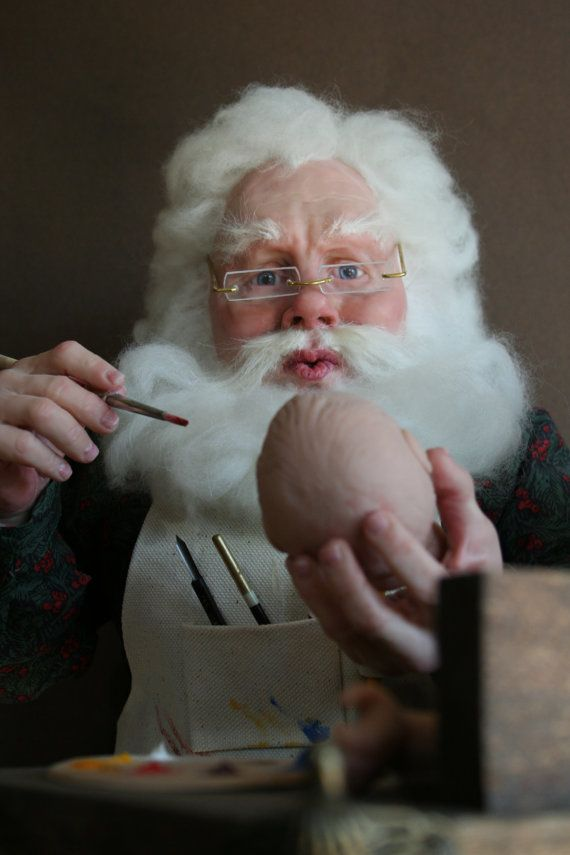 art doll Santa- Finishing Touches original polymer clay sculture by Sue Menz