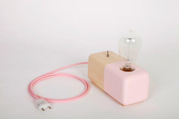 Wood Modern Handmade Table Lamp Edison Style Geometric Wood Block Pink Panselinos on Etsy, R$172,65