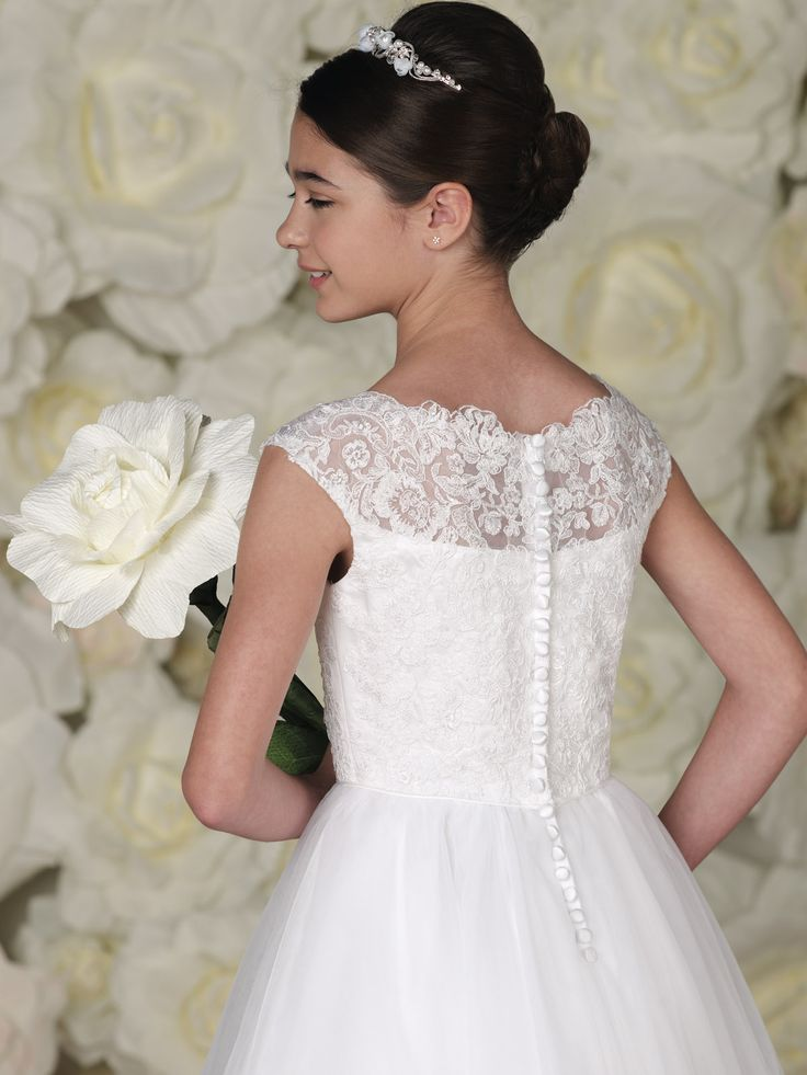 Calabrese girl flower girl dresses style 113349 for Wedding dress with buttons all the way down