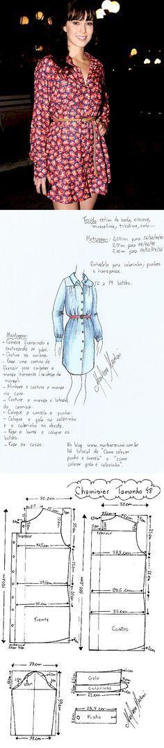 Chamesier. Chamesier é uma peça prática, pois pode ser usado como vestido ou com legue. Pode acompanhar um visual social ou esportivo, como este que a Marjorie está vestindo. Veste bem magrinhas e cheinhas. Pode ser feito de cetim, seda, viscose, musseline… Segue molde do número 38 ao 54.