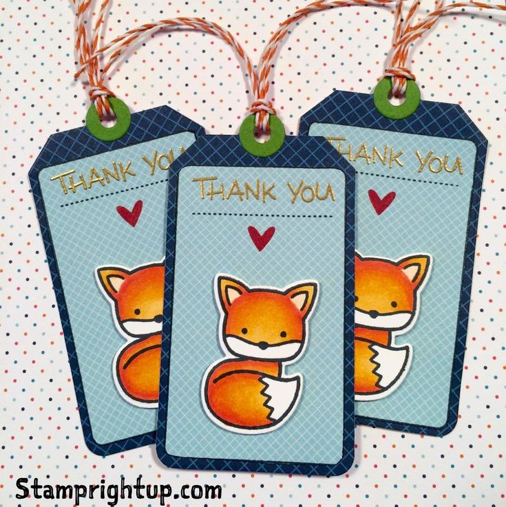 Lawn Fawn Into The Woods fox Thank You tags with Tag You're It by Wendie Bee of Stamp Right Up