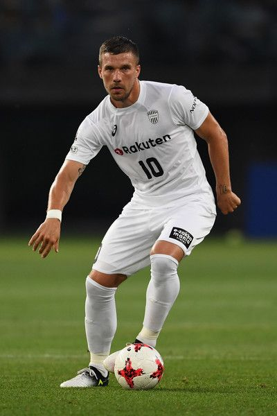 Lukas Podolski of Vissel Kobe in action during the preseason friendly match between Vegalta Sendai and Vissel Kobe at Yurtec Stadium Sendai on July 22, 2017 in Sendai, Miyagi, Japan.
