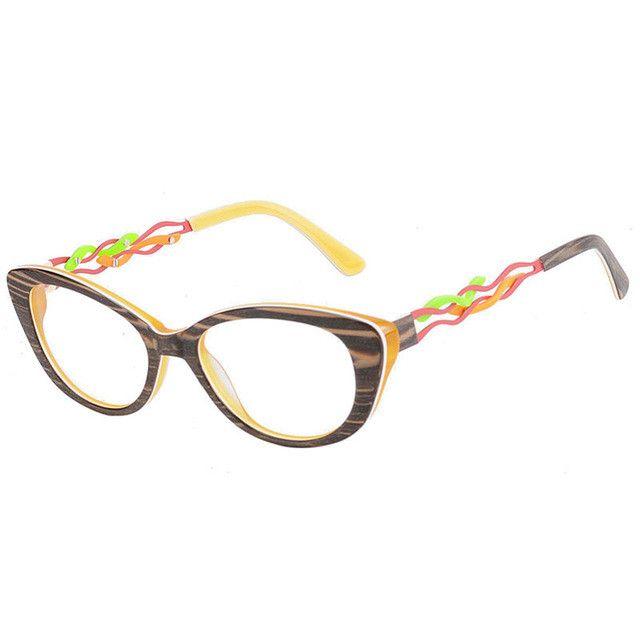 Kirka Female Light Eye Glasses Cat Eye Frame in Yellow color Women Eyewear Prescription Glasses Frame