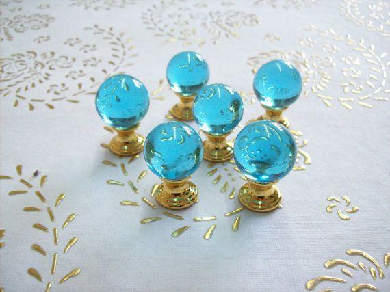Italia cristallo trasparente blu. manopole in alta qualità.