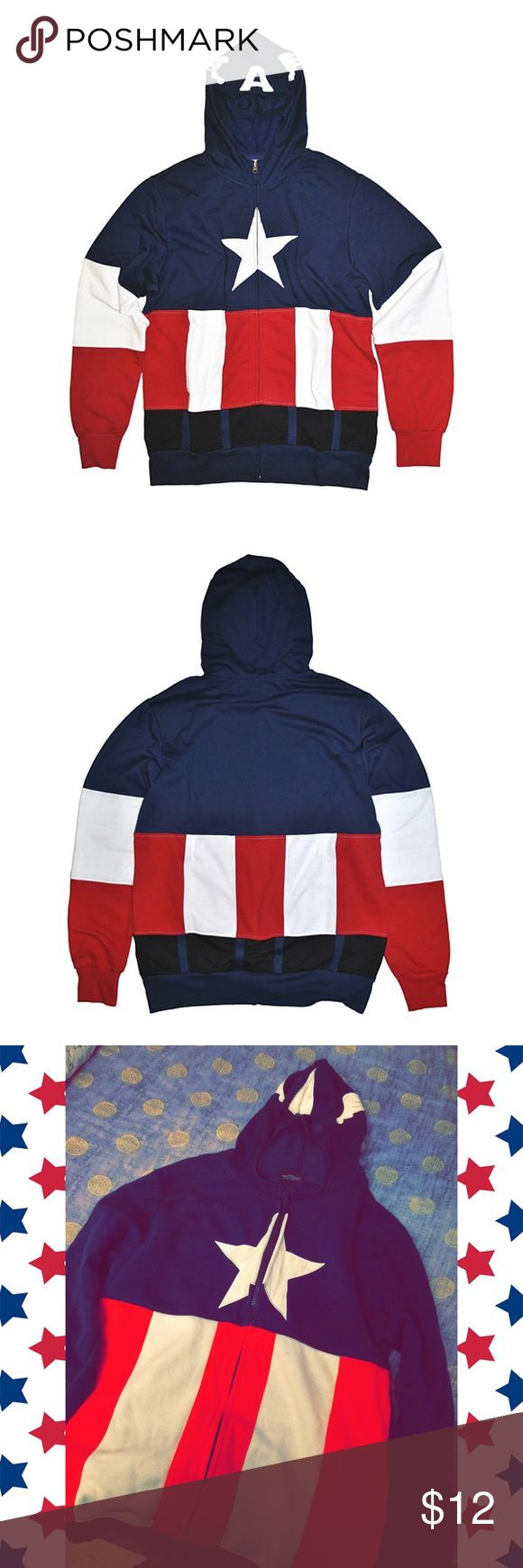 Captain America Cosplay Hoodie This is a Captain American Cosplay Hoodie, its has a fun hood that looks like Captain America's mask. It's been worn maybe once. Marvel Tops Sweatshirts & Hoodies