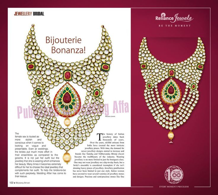Reliance Jewels featured in Wedding Affair Asia Edition with our most vibrating & ravishing kundan jewellery.