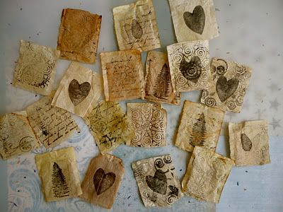 love! reusing tea bags in a beautifully creative way - from Hands and Heart
