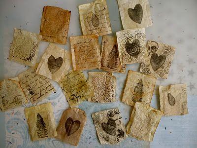 stamping on tea bags