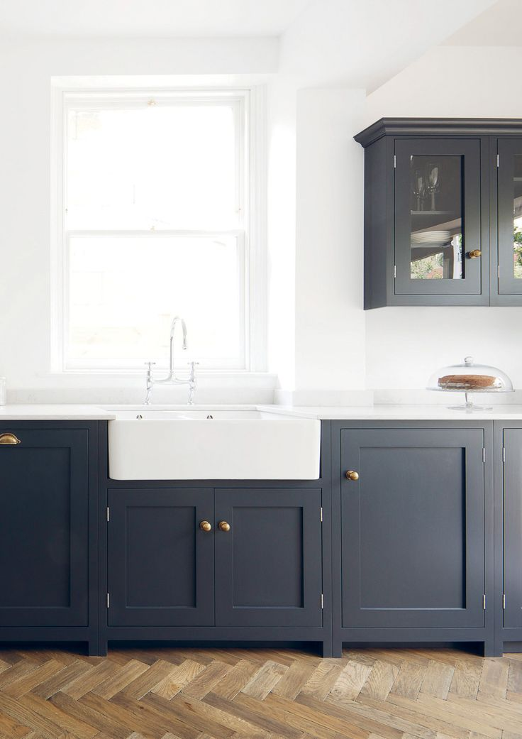 Navy brass shaker style cabinets modern farmhouse for Shaker style kitchen units