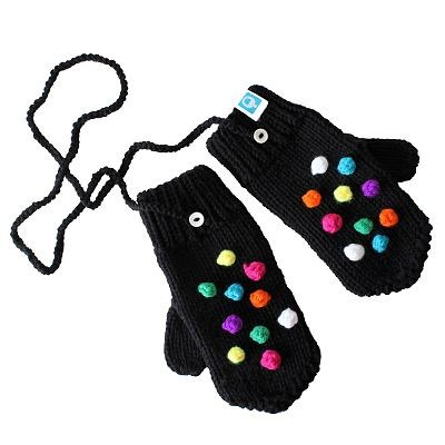 Hand knitted merino mittens with multicolor dots