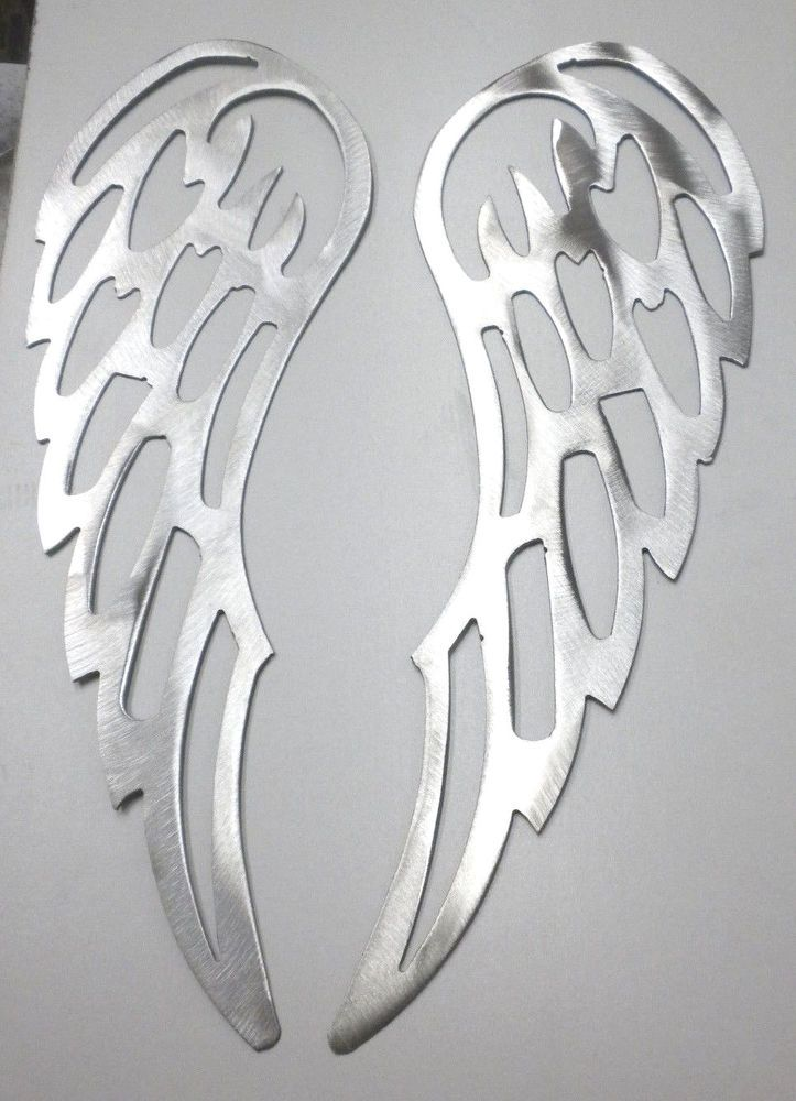 "Lot of 2 ANGEL WINGS 12"" Brushed Finish Metal Wall Art Stencil Craft #Craft"