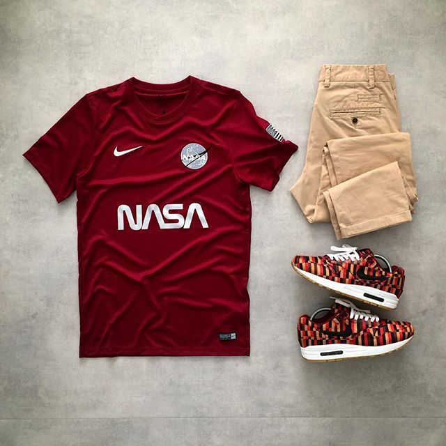 """M A R O O N  Today's fit... - Nike x TheConceptClub """"NASA"""" Maroon Edition - Zara Classic Chino - Nike Air Max 87 x Roundel London Underground  Color of Season"""