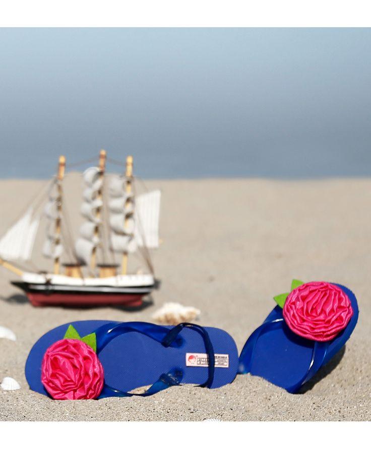 Blue Rubber Rose Applique Flip Flops  #FlipFlops #Blue #Rubber