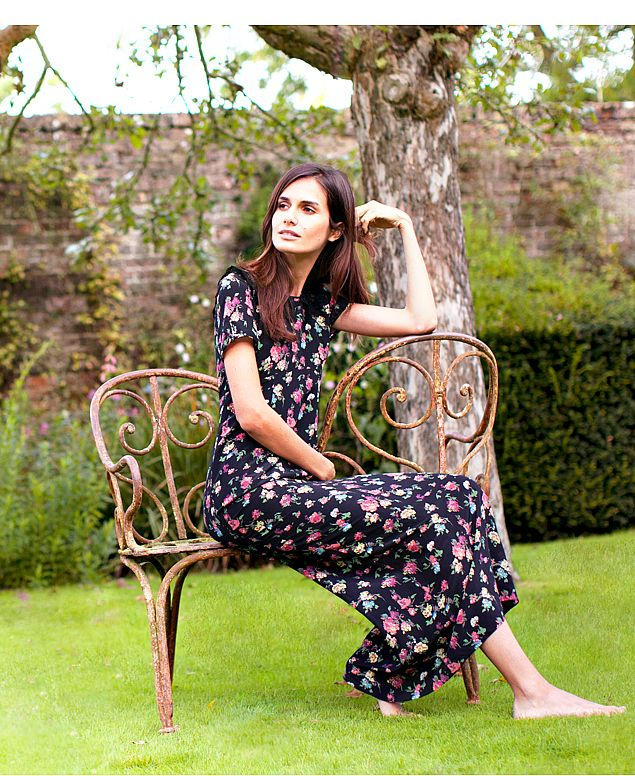 Edina Ronay Silk Black Floral Maxi Dress