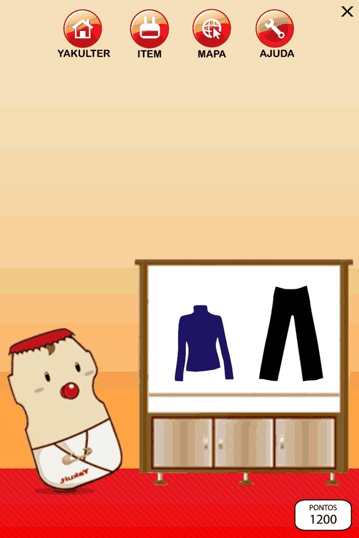 Interface do jogo Yakultilandia ( Guarda - roupa ) - Projeto Hipermídia