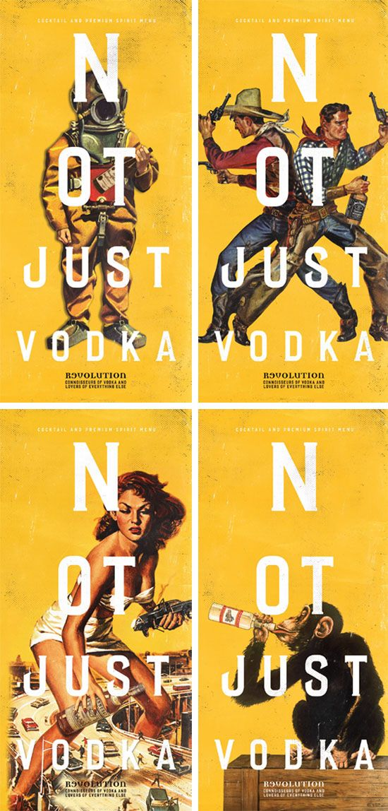 Cocktail and Drinks Menu Design Covers, Graphic Design for Vodka Revolution by www.diagramdesign.co.uk