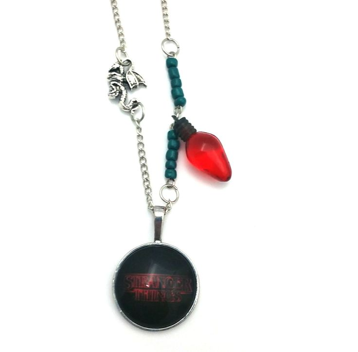 """Red Dragon Light Stranger Things Inspired Glass Dome Beaded Charm 28"""" Chain Necklace Silver Tone"""