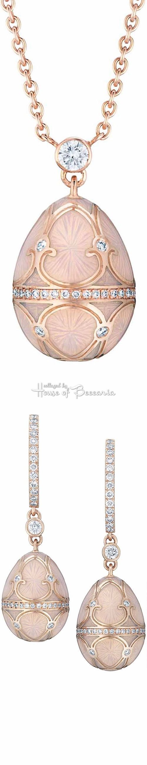 Rosamaria G Frangini | High Pink Jewellery | Fabergé Les Palais Tsarskoye Selo Empereur Rosé Egg Pendant & Drop Earrings From The Heritage Collection. White Diamonds and Pink Guilloché Enamel Set in 18 carat Rose and Yellow Gold | House of Beccaria