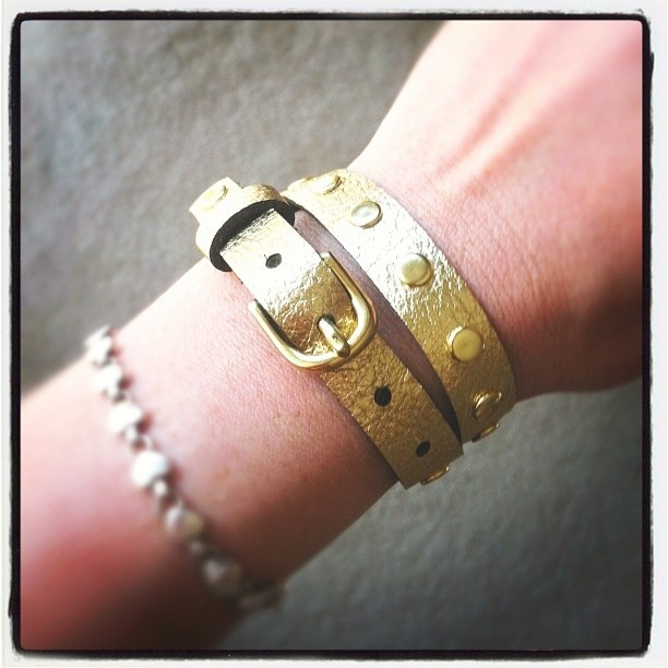 Gold on gold skinny wrap bracelet