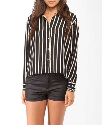 High-Low Vertical Striped Shirt | FOREVER21 - 2017306349